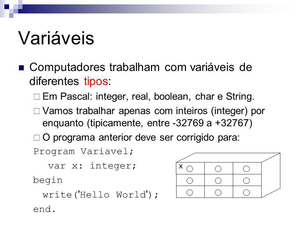 Variáveis Computadores trabalham com variáveis de diferentes tipos:  Em Pascal: integer, real, boolean, char e String.  Vamos trabalhar apenas com i