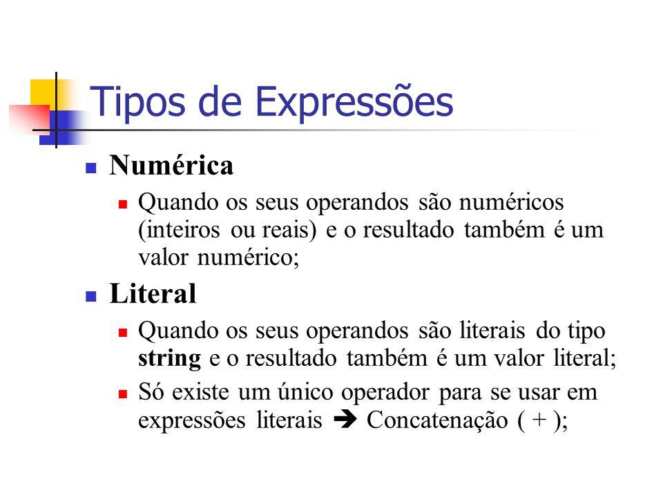 Tipos de Expressões Numérica Quando os seus operandos são numéricos (inteiros ou reais) e o resultado também é um valor numérico; Literal Quando os se