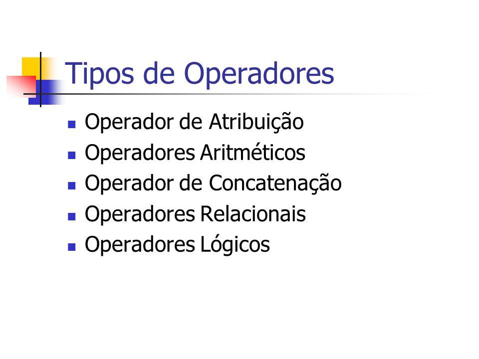 Tipos de Operadores Operador de Atribuição Operadores Aritméticos Operador de Concatenação Operadores Relacionais Operadores Lógicos