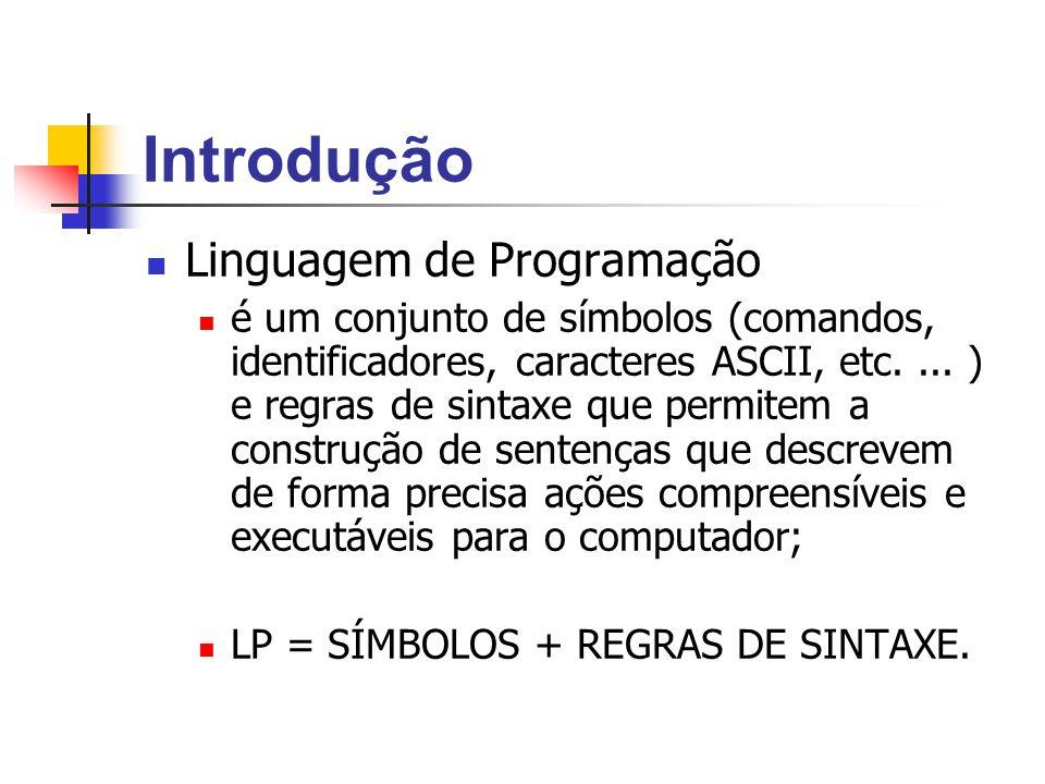 Introdução Linguagem de Programação é um conjunto de símbolos (comandos, identificadores, caracteres ASCII, etc.... ) e regras de sintaxe que permitem