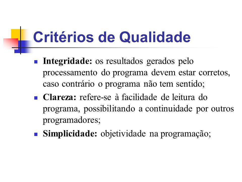 Critérios de Qualidade Integridade: os resultados gerados pelo processamento do programa devem estar corretos, caso contrário o programa não tem senti