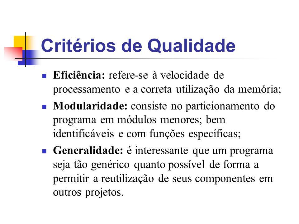 Critérios de Qualidade Eficiência: refere-se à velocidade de processamento e a correta utilização da memória; Modularidade: consiste no particionament