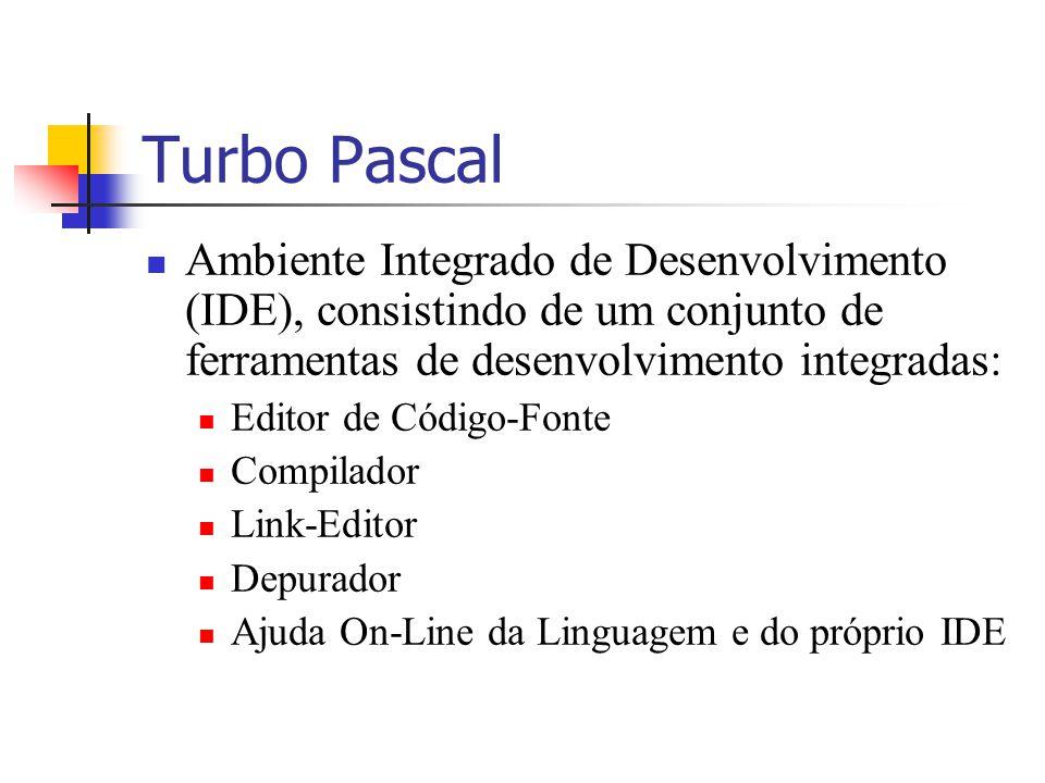 Turbo Pascal Ambiente Integrado de Desenvolvimento (IDE), consistindo de um conjunto de ferramentas de desenvolvimento integradas: Editor de Código-Fo
