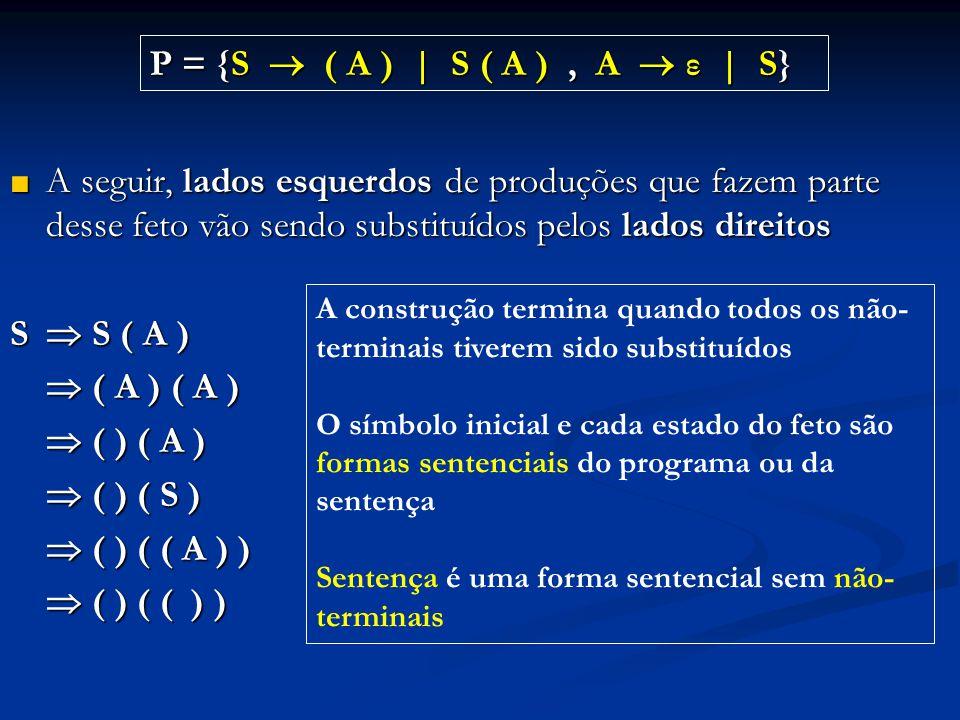 ■ A seguir, lados esquerdos de produções que fazem parte desse feto vão sendo substituídos pelos lados direitos S  S ( A )  ( A ) ( A )  ( ) ( A )