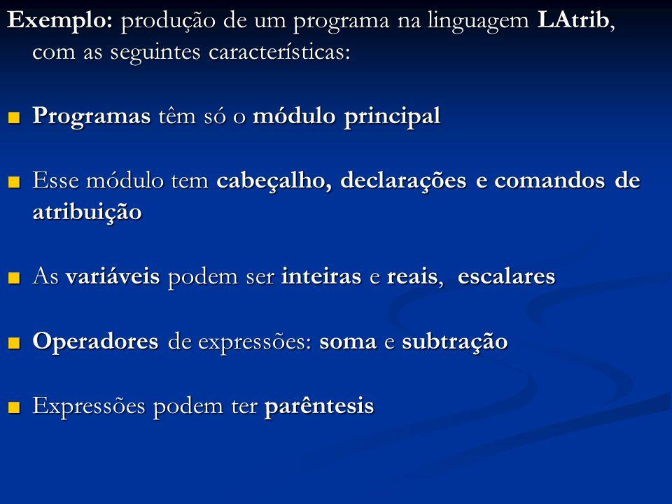 Exemplo: produção de um programa na linguagem LAtrib, com as seguintes características: ■ Programas têm só o módulo principal ■ Esse módulo tem cabeça