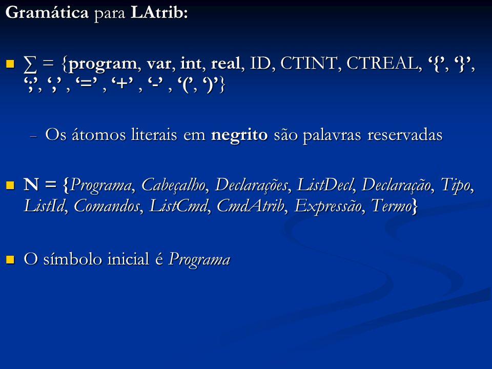 Gramática para LAtrib: ∑ = {program, var, int, real, ID, CTINT, CTREAL, '{', '}', ';', ',', '=', '+', '-', '(', ')'} ∑ = {program, var, int, real, ID,