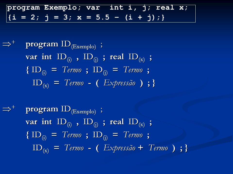  + program ID (Exemplo) ; var int ID (i), ID (j) ; real ID (x) ; { ID (i) = Termo ; ID (j) = Termo ; ID (x) = Termo - ( Expressão ) ; } ID (x) = Term
