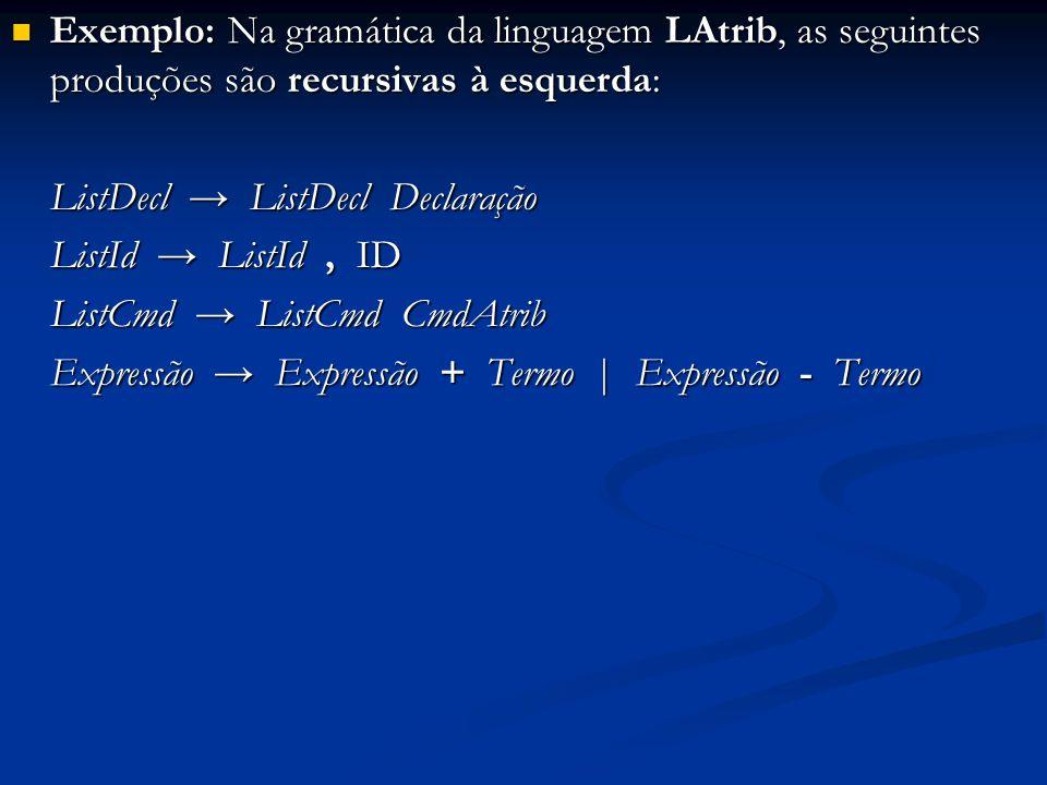 Exemplo: Na gramática da linguagem LAtrib, as seguintes produções são recursivas à esquerda: Exemplo: Na gramática da linguagem LAtrib, as seguintes p