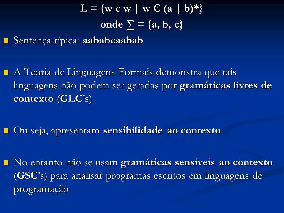 L = {w c w | w Є (a | b)*} onde ∑ = {a, b, c} Sentença típica: aababcaabab Sentença típica: aababcaabab A Teoria de Linguagens Formais demonstra que t