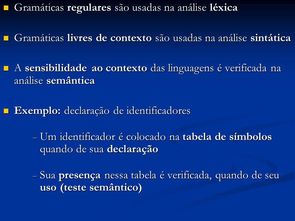 Gramáticas regulares são usadas na análise léxica Gramáticas regulares são usadas na análise léxica Gramáticas livres de contexto são usadas na anális