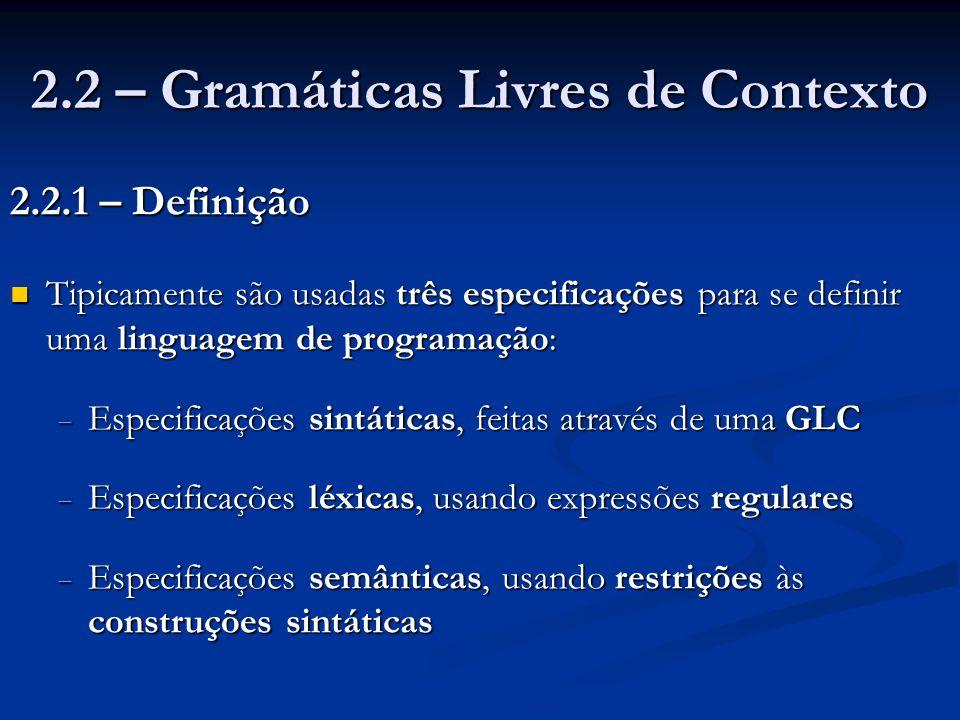 2.2 – Gramáticas Livres de Contexto 2.2.1 – Definição Tipicamente são usadas três especificações para se definir uma linguagem de programação: Tipicam