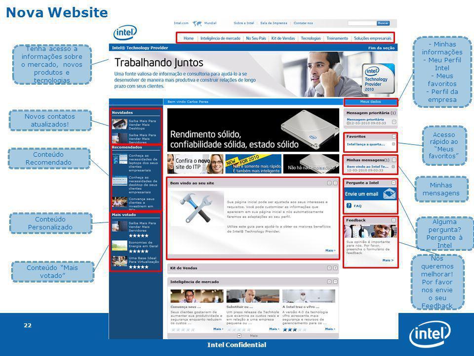 Intel Confidential 22 Nova Website Tenha acesso a informações sobre o mercado, novos produtos e tecnologias Novos contatos atualizados! Conteúdo Recom