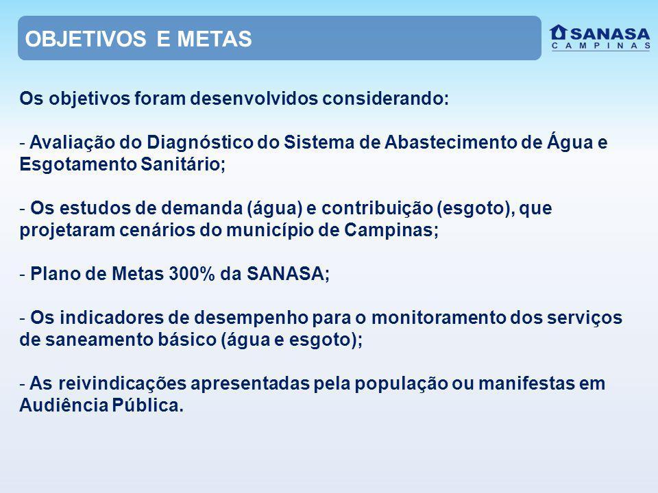 Os objetivos foram desenvolvidos considerando: - Avaliação do Diagnóstico do Sistema de Abastecimento de Água e Esgotamento Sanitário; - Os estudos de demanda (água) e contribuição (esgoto), que projetaram cenários do município de Campinas; - Plano de Metas 300% da SANASA; - Os indicadores de desempenho para o monitoramento dos serviços de saneamento básico (água e esgoto); - As reivindicações apresentadas pela população ou manifestas em Audiência Pública.
