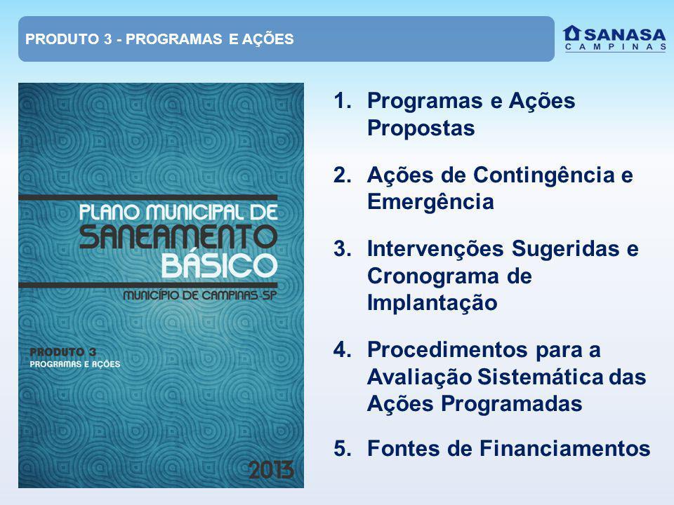 1.Programas e Ações Propostas 2.Ações de Contingência e Emergência 3.Intervenções Sugeridas e Cronograma de Implantação 4.Procedimentos para a Avaliação Sistemática das Ações Programadas 5.Fontes de Financiamentos PRODUTO 3 - PROGRAMAS E AÇÕES