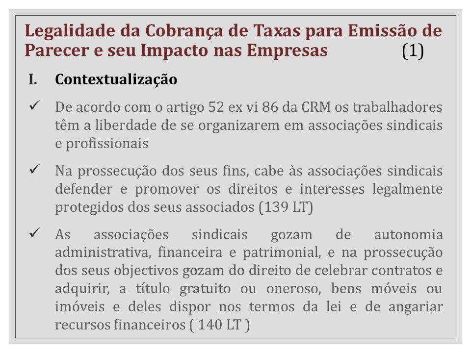 Legalidade da Cobrança de Taxas para Emissão de Parecer e seu Impacto nas Empresas (1) I.Contextualização De acordo com o artigo 52 ex vi 86 da CRM os