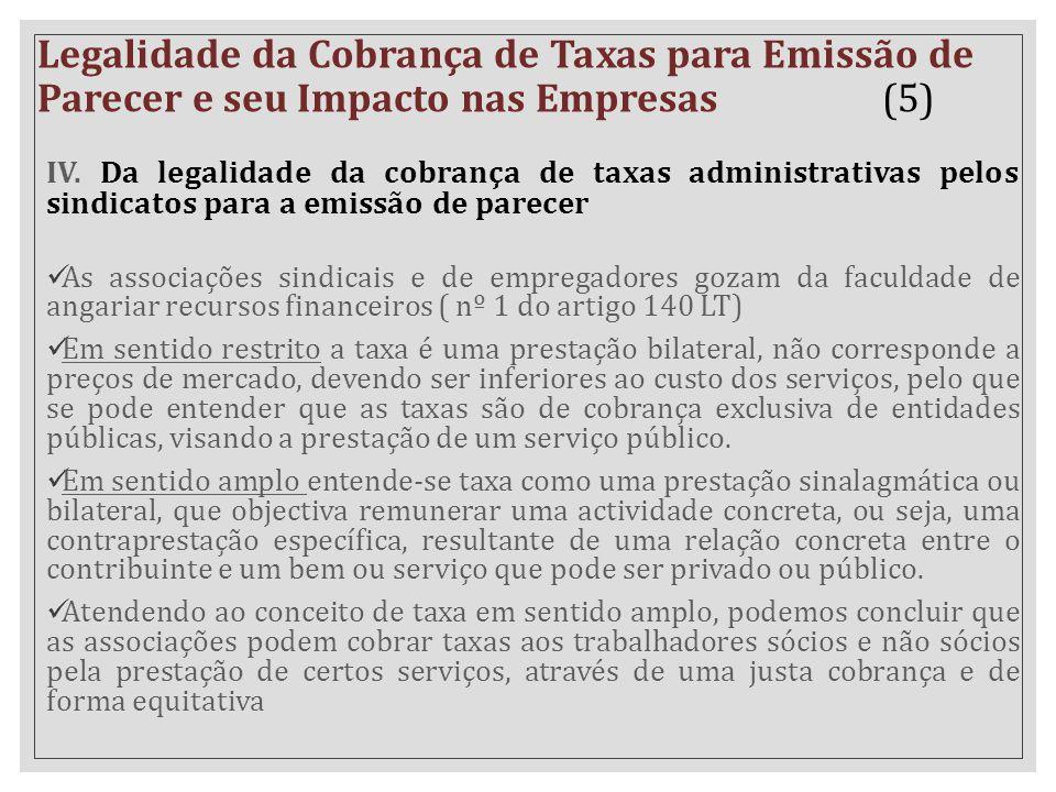 IV. Da legalidade da cobrança de taxas administrativas pelos sindicatos para a emissão de parecer As associações sindicais e de empregadores gozam da
