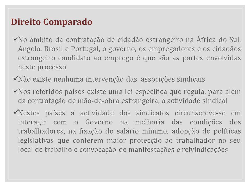 Direito Comparado No âmbito da contratação de cidadão estrangeiro na África do Sul, Angola, Brasil e Portugal, o governo, os empregadores e os cidadão