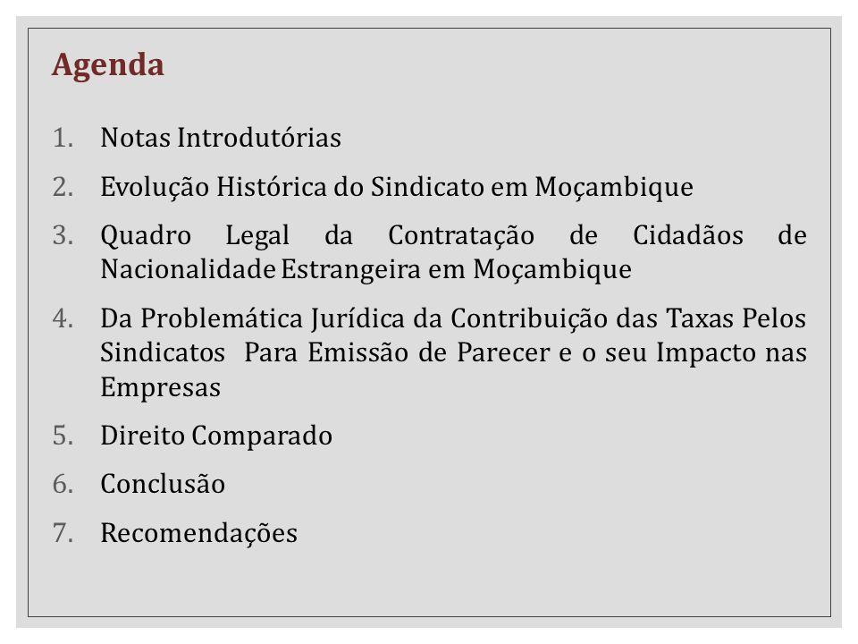 Agenda 1.Notas Introdutórias 2.Evolução Histórica do Sindicato em Moçambique 3.Quadro Legal da Contratação de Cidadãos de Nacionalidade Estrangeira em