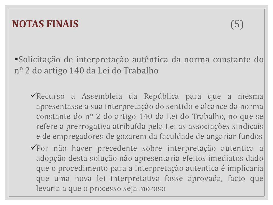 NOTAS FINAIS (5)  Solicitação de interpretação autêntica da norma constante do nº 2 do artigo 140 da Lei do Trabalho Recurso a Assembleia da Repúblic