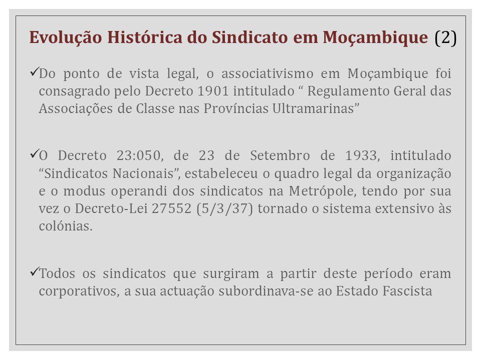"""Do ponto de vista legal, o associativismo em Moçambique foi consagrado pelo Decreto 1901 intitulado """" Regulamento Geral das Associações de Classe nas"""