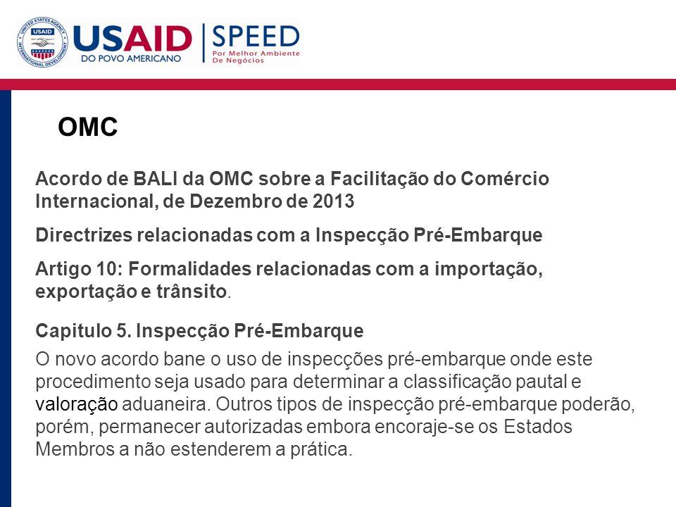 OMC Acordo de BALI da OMC sobre a Facilitação do Comércio Internacional, de Dezembro de 2013 Directrizes relacionadas com a Inspecção Pré-Embarque Artigo 10: Formalidades relacionadas com a importação, exportação e trânsito.