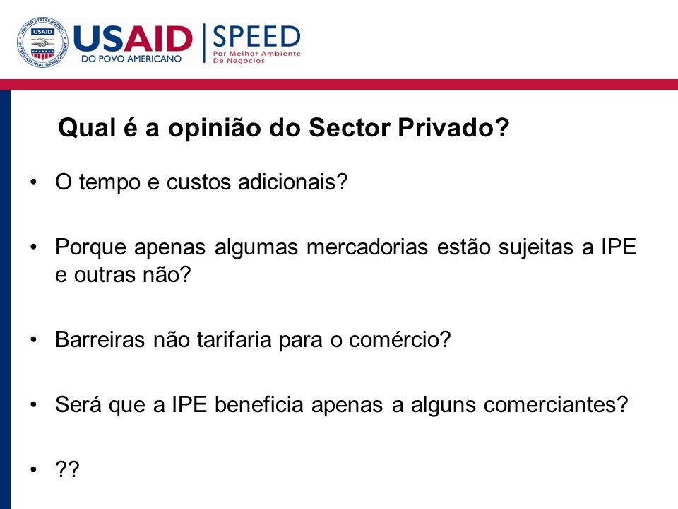Qual é a opinião do Sector Privado. O tempo e custos adicionais.