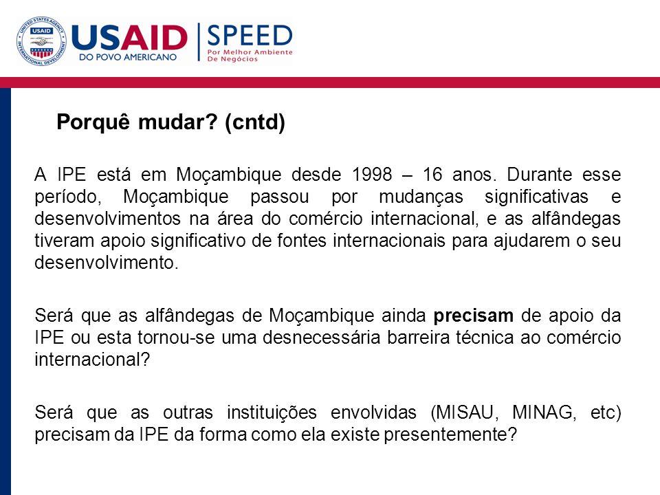 Porquê mudar. (cntd) A IPE está em Moçambique desde 1998 – 16 anos.