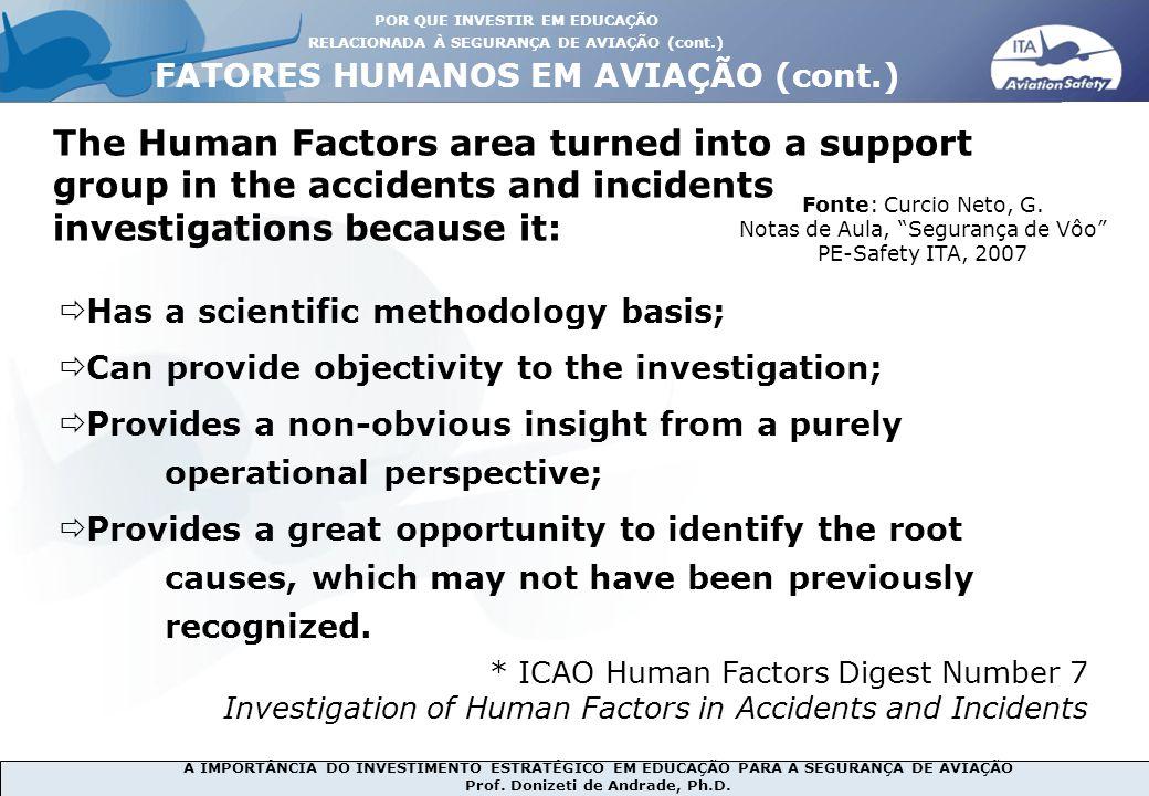 A IMPORTÂNCIA DO INVESTIMENTO ESTRATÉGICO EM EDUCAÇÃO PARA A SEGURANÇA DE AVIAÇÃO Prof. Donizeti de Andrade, Ph.D. The Human Factors area turned into