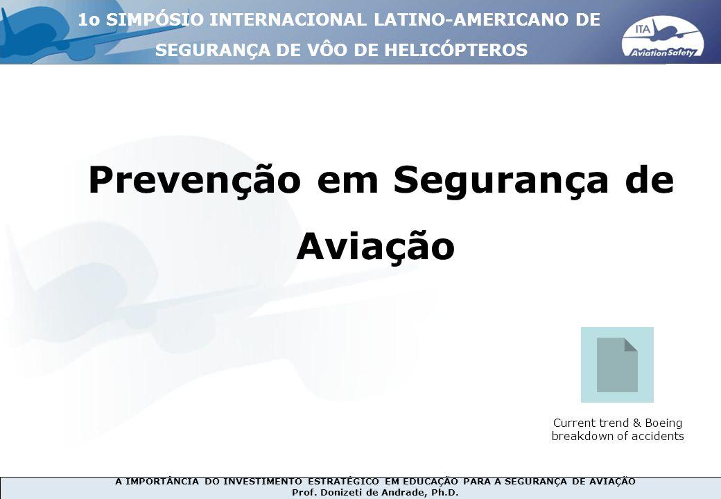 A IMPORTÂNCIA DO INVESTIMENTO ESTRATÉGICO EM EDUCAÇÃO PARA A SEGURANÇA DE AVIAÇÃO Prof. Donizeti de Andrade, Ph.D. Prevenção em Segurança de Aviação C