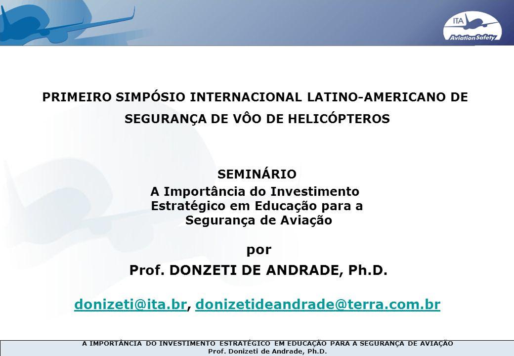 A IMPORTÂNCIA DO INVESTIMENTO ESTRATÉGICO EM EDUCAÇÃO PARA A SEGURANÇA DE AVIAÇÃO Prof. Donizeti de Andrade, Ph.D. 2007… 1990s PRIMEIRO SIMPÓSIO INTER