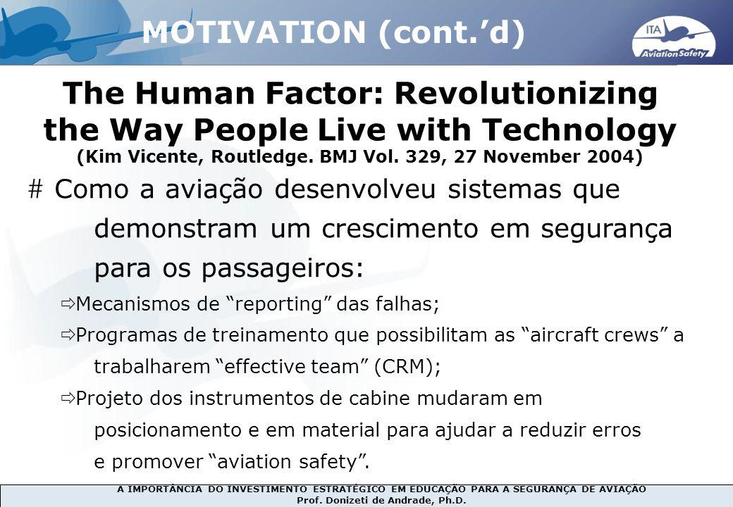A IMPORTÂNCIA DO INVESTIMENTO ESTRATÉGICO EM EDUCAÇÃO PARA A SEGURANÇA DE AVIAÇÃO Prof. Donizeti de Andrade, Ph.D. The Human Factor: Revolutionizing t