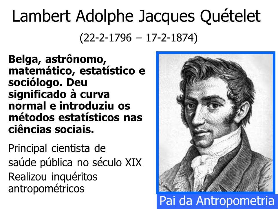 Lambert Adolphe Jacques Quételet (22-2-1796 – 17-2-1874) Belga, astrônomo, matemático, estatístico e sociólogo. Deu significado à curva normal e intro