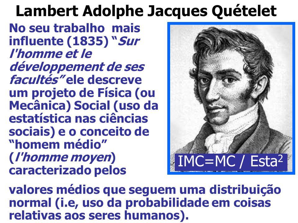 """Lambert Adolphe Jacques Quételet No seu trabalho mais influente (1835) """"Sur l'homme et le développement de ses facultés"""" ele descreve um projeto de Fí"""