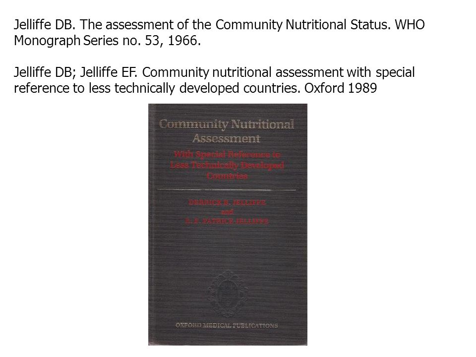 Jelliffe DB.The assessment of the Community Nutritional Status.