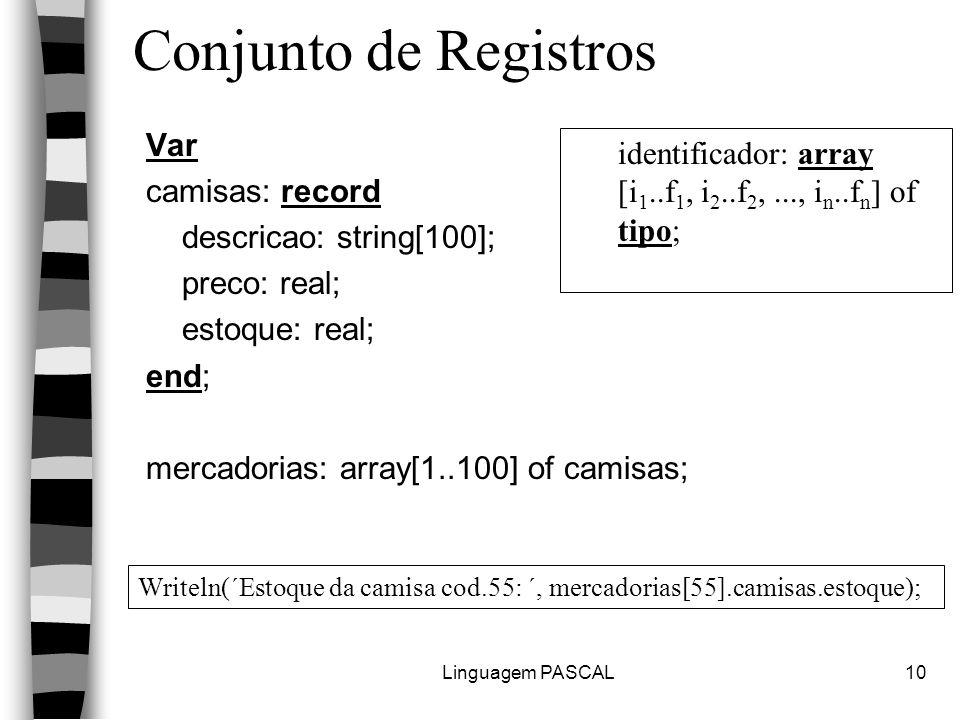 Linguagem PASCAL10 Conjunto de Registros Var camisas: record descricao: string[100]; preco: real; estoque: real; end; mercadorias: array[1..100] of camisas; identificador: array [i 1..f 1, i 2..f 2,..., i n..f n ] of tipo; Writeln(´Estoque da camisa cod.55: ´, mercadorias[55].camisas.estoque);