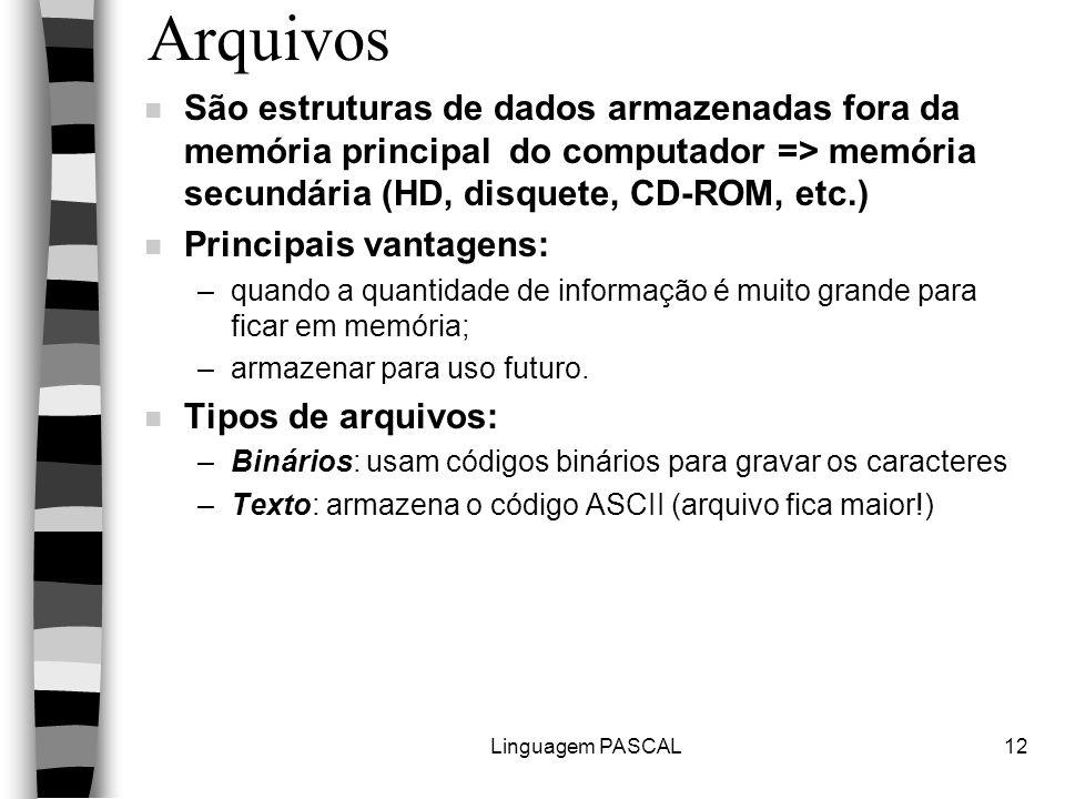 Linguagem PASCAL12 Arquivos n São estruturas de dados armazenadas fora da memória principal do computador => memória secundária (HD, disquete, CD-ROM,