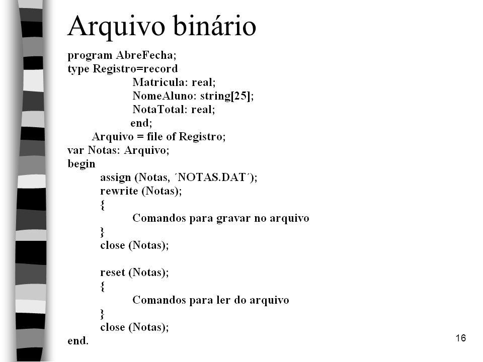 Linguagem PASCAL16 Arquivo binário