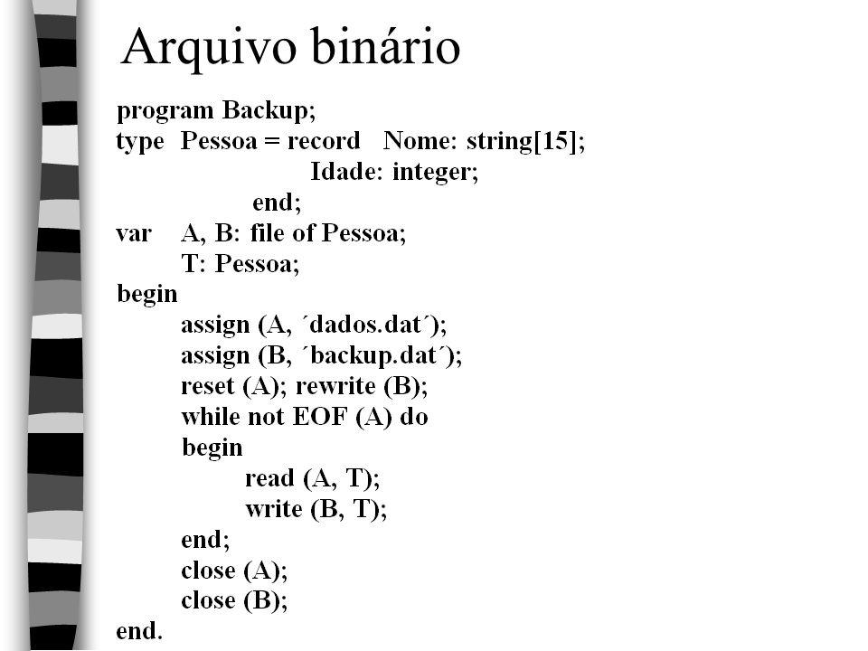 Linguagem PASCAL18 Arquivo binário