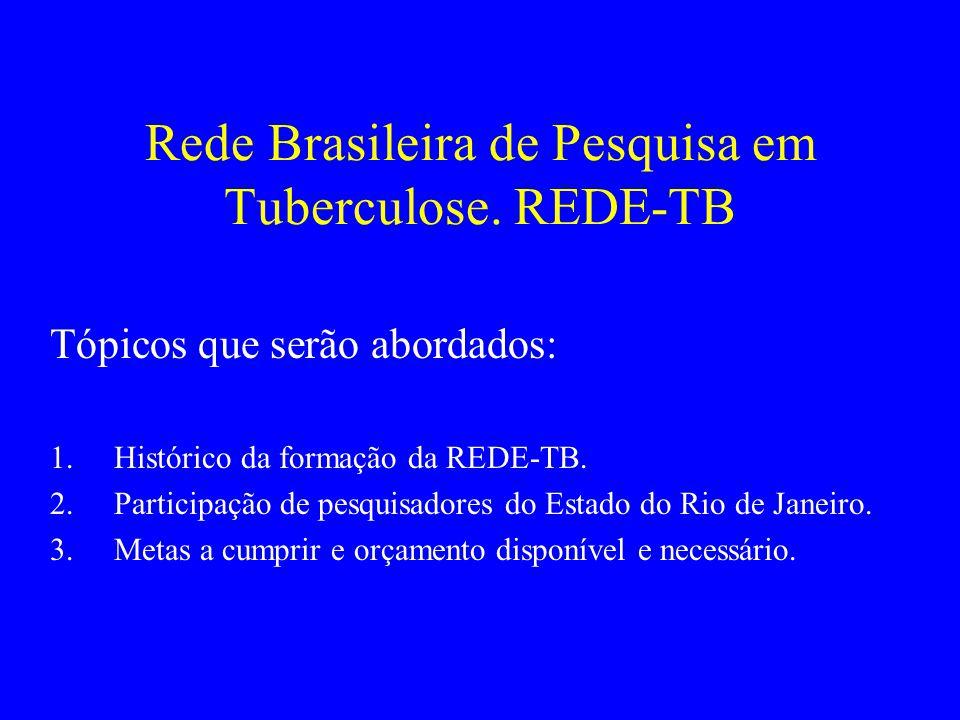REDE BRASILEIRA DE PESQUISA EM TUBERCULOSE MISSÃO: CAPACITAÇÃO CIENTÍFICA E TECNOLÓGICA NO PAÍS PARA O DESENVOLVIMENTO DE NOVAS TECNOLOGIAS / PRODUTOS E COLABORAR NA REVISÃO DE POLÍTICAS PÚBLICAS NECESSÁRIAS AO CONTROLE DA TUBERCULOSE