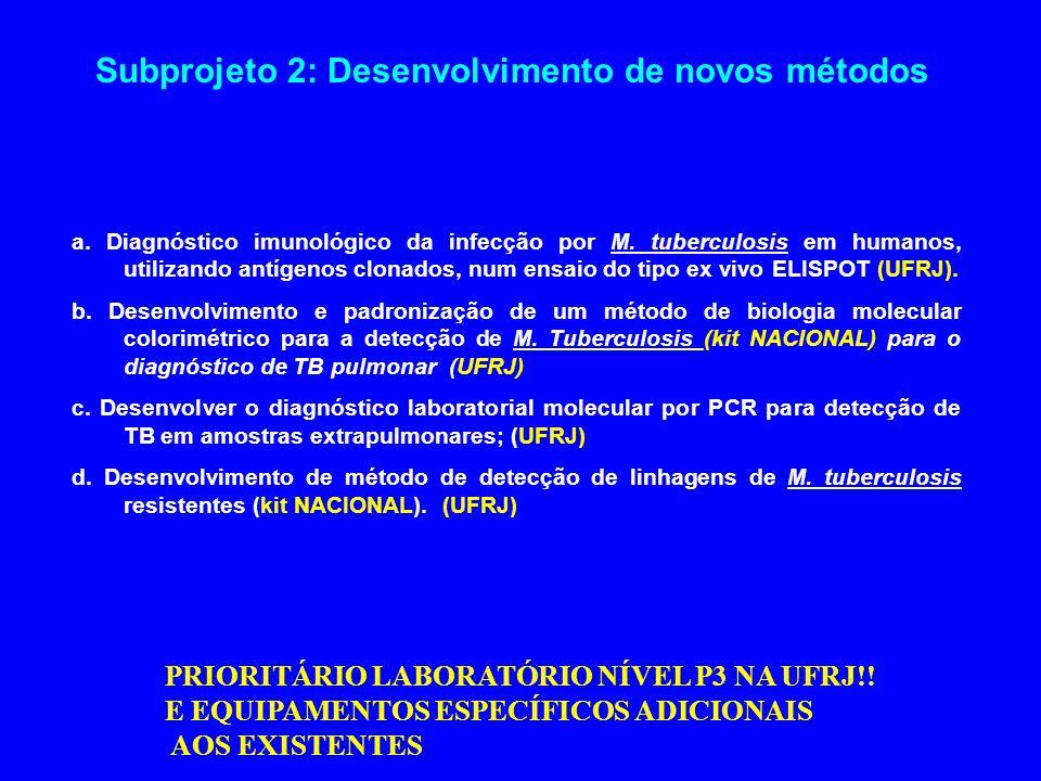 Subprojeto 2: Desenvolvimento de novos métodos a. Diagnóstico imunológico da infecção por M. tuberculosis em humanos, utilizando antígenos clonados, n