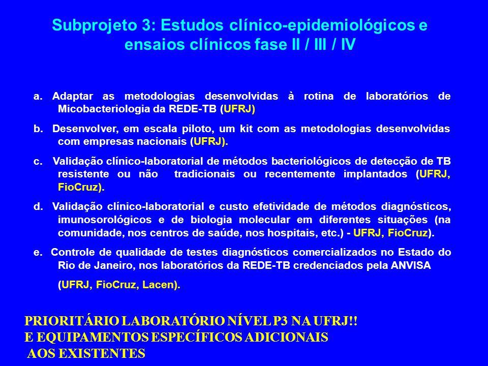Subprojeto 3: Estudos clínico-epidemiológicos e ensaios clínicos fase II / III / IV a. Adaptar as metodologias desenvolvidas à rotina de laboratórios