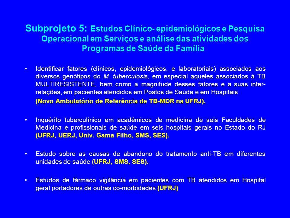 Subprojeto 5: Estudos Clínico- epidemiológicos e Pesquisa Operacional em Serviços e análise das atividades dos Programas de Saúde da Família Identific