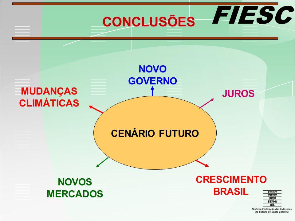 FIESC CENÁRIO FUTURO MUDANÇAS CLIMÁTICAS NOVO GOVERNO JUROS NOVOS MERCADOS CONCLUSÕES CRESCIMENTO BRASIL