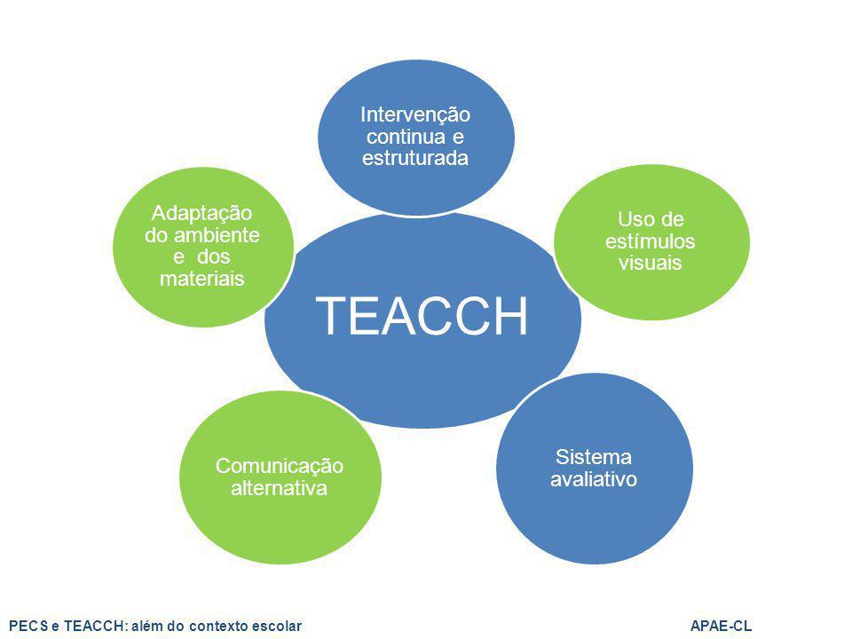TEACCH Intervenção continua e estruturada Uso de estímulos visuais Sistema avaliativo Comunicação alternativa Adaptação do ambiente e dos materiais PE