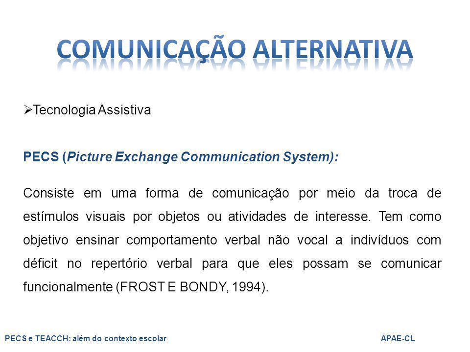  Tecnologia Assistiva PECS (Picture Exchange Communication System): Consiste em uma forma de comunicação por meio da troca de estímulos visuais por o