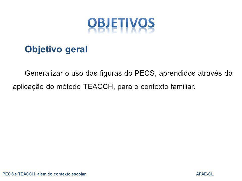 Objetivo geral Generalizar o uso das figuras do PECS, aprendidos através da aplicação do método TEACCH, para o contexto familiar. PECS e TEACCH: além