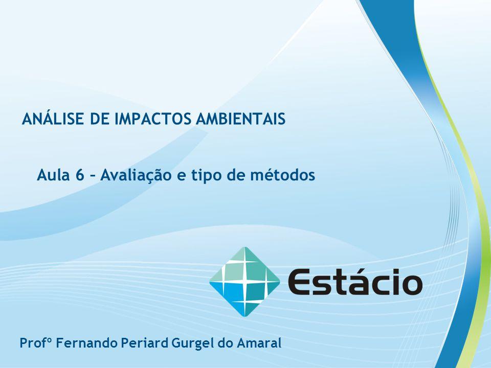 ANÁLISE DE IMPACTOS AMBIENTAIS Aula 6 – Avaliação e tipo de métodos Profº Fernando Periard Gurgel do Amaral