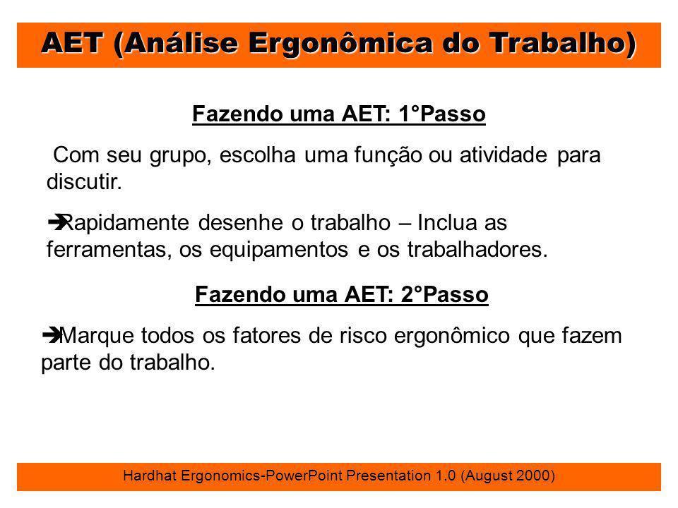 AET (Análise Ergonômica do Trabalho) Hardhat Ergonomics-PowerPoint Presentation 1.0 (August 2000) Fazendo uma AET: 1°Passo Com seu grupo, escolha uma