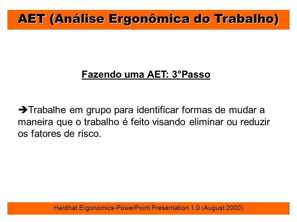 AET (Análise Ergonômica do Trabalho) Hardhat Ergonomics-PowerPoint Presentation 1.0 (August 2000) Fazendo uma AET: 3°Passo è Trabalhe em grupo para id