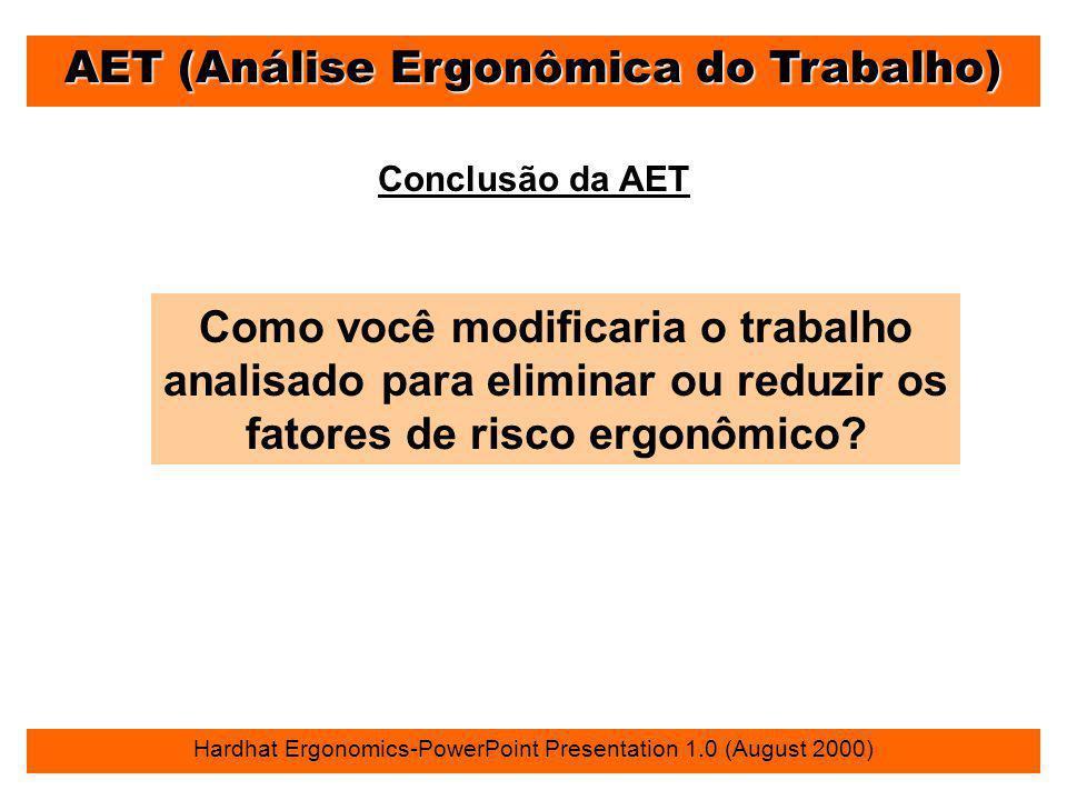 AET (Análise Ergonômica do Trabalho) Hardhat Ergonomics-PowerPoint Presentation 1.0 (August 2000) Conclusão da AET Como você modificaria o trabalho an